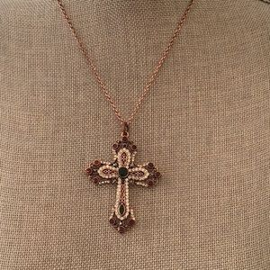 Jewelry - NWOT Bejeweled Cross on Copper Tone Link Chain